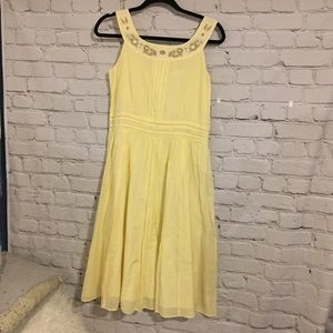 Banana Republic yellow cotton embroidered dress
